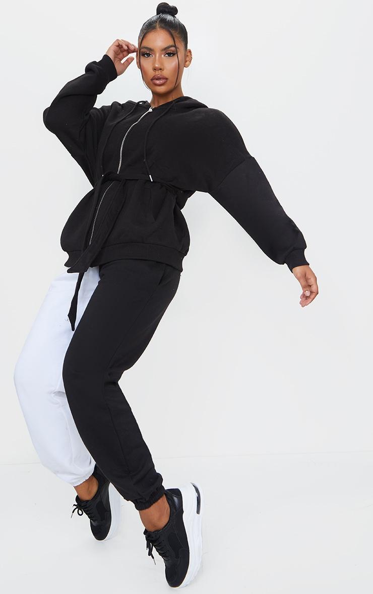 Black Oversized Longline Zip Belted Hoodie Jacket 3