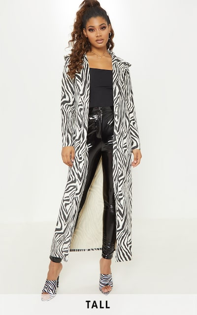 aab60956c411 Tall White Faux Suede Zebra Print Longline Coat PrettyLittleThing Sticker