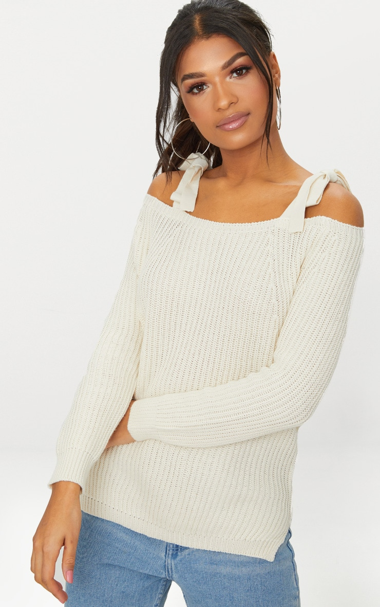 Cream Tie Shoulder Detail Jumper 1