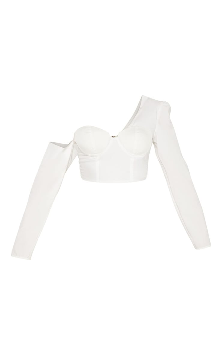 White One Shoulder Cup Detail Crop Shirt 3