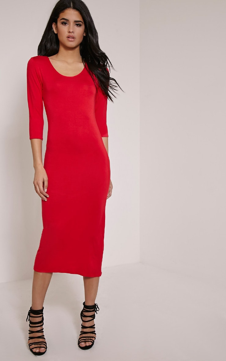 Basic Red Long Sleeve Midi Dress 1