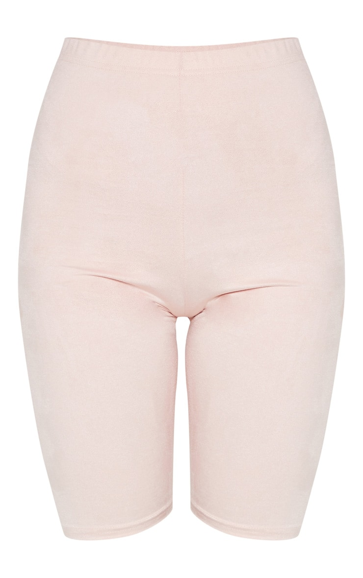 Pastel Pink Faux Suede Cycle Short 3