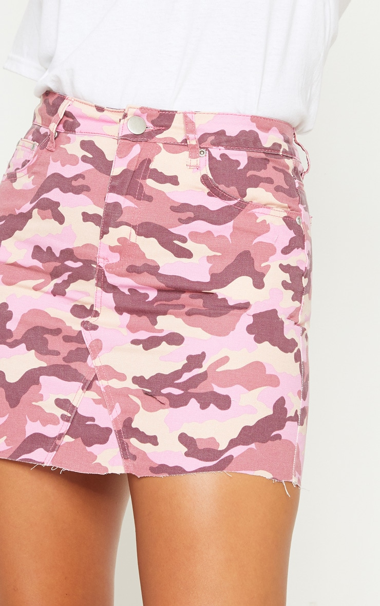 Pink Camo Denim Skirt  6