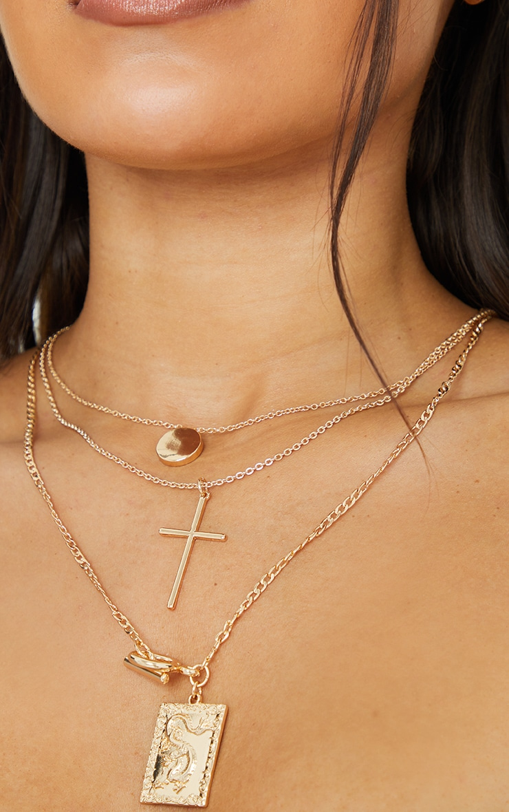 Gold T Bar Statement Pendant Layering Necklace 2