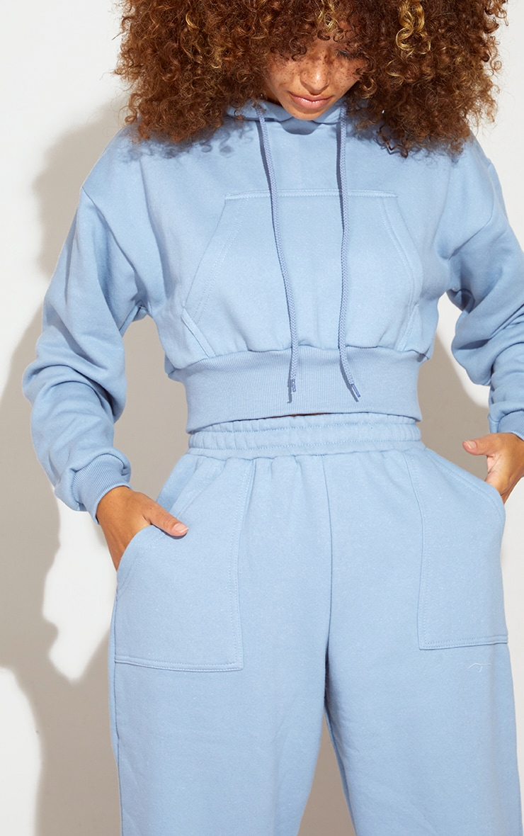 Blue Steel Pocket Front Cropped Hoodie 4
