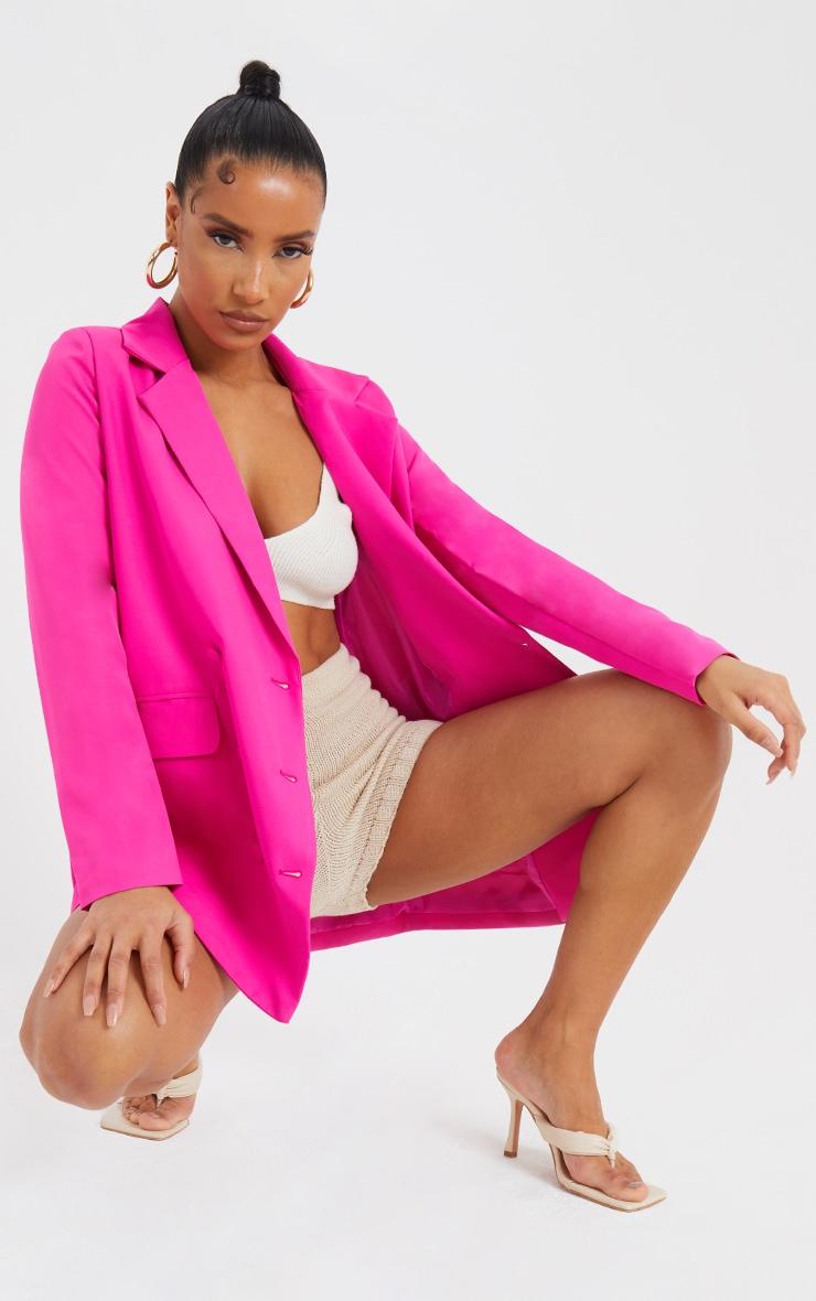 Pink Oversized Button-Down Woven Blazer