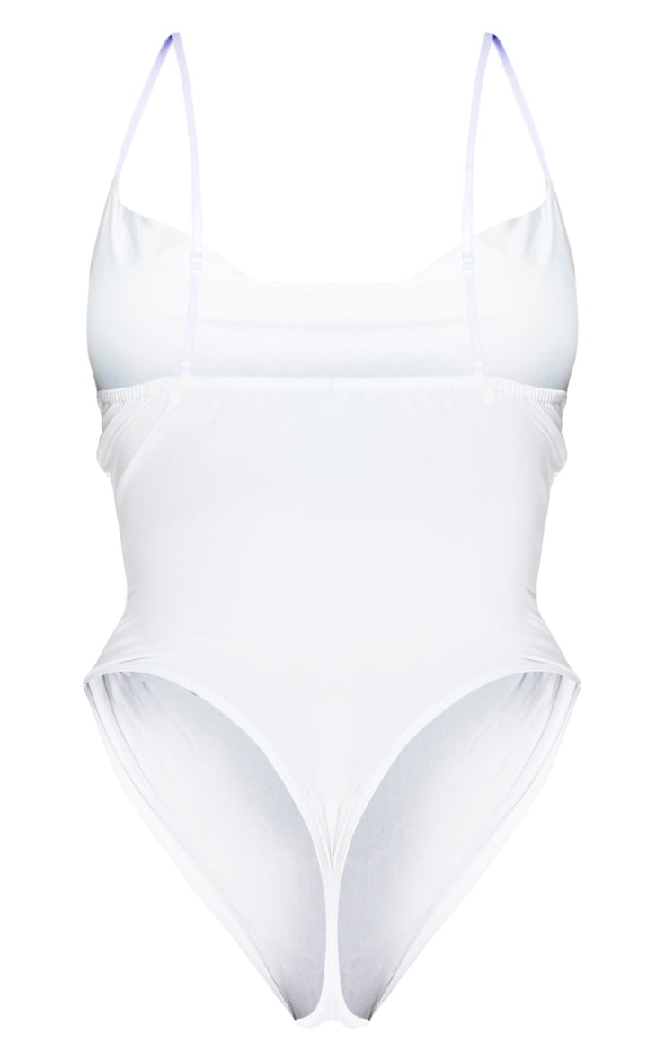 Shape White Cowl Neck Slinky Bodysuit 4