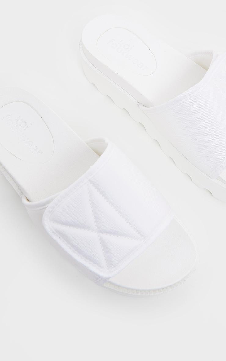 White Velcro Strap Flatform Slider 3