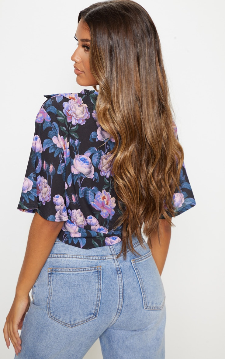 Dark Lilac Floral Printed Twist Front Crop Blouse 2