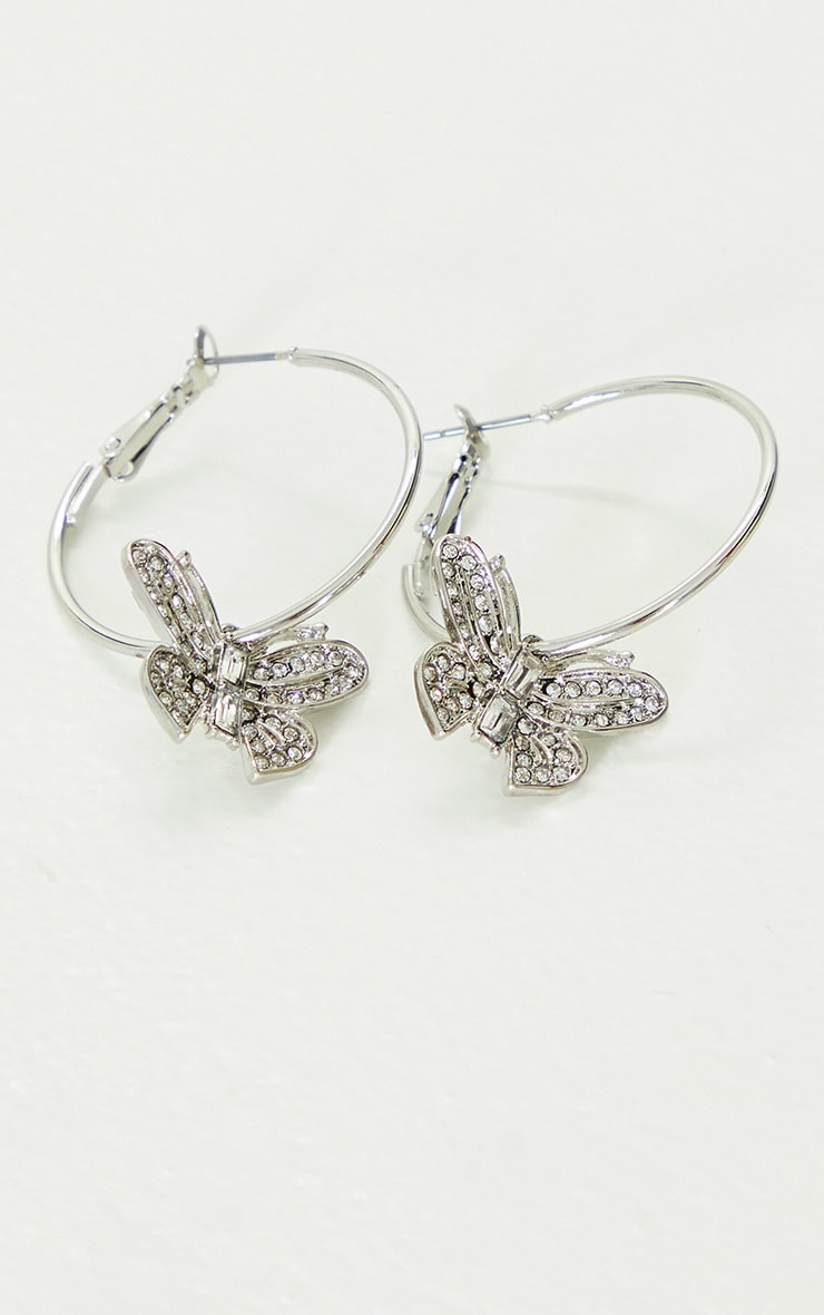 Silver Butterfly Diamante Hoop Earrings 3