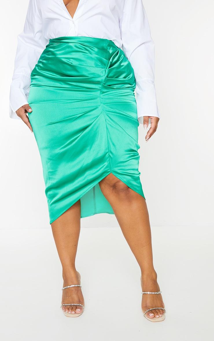 Plus Bright Green Satin Ruched Split Midi Skirt 2