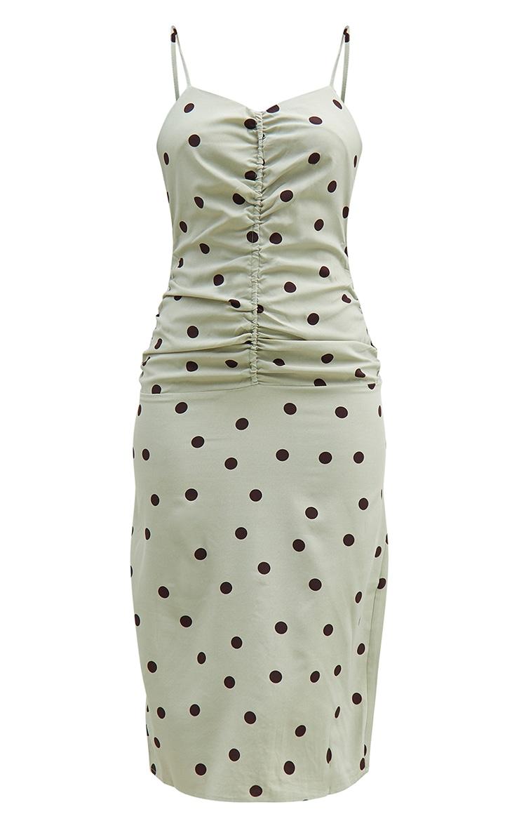 Sage Green Polka Dot Strappy Ruched Centre Midi Dress 5