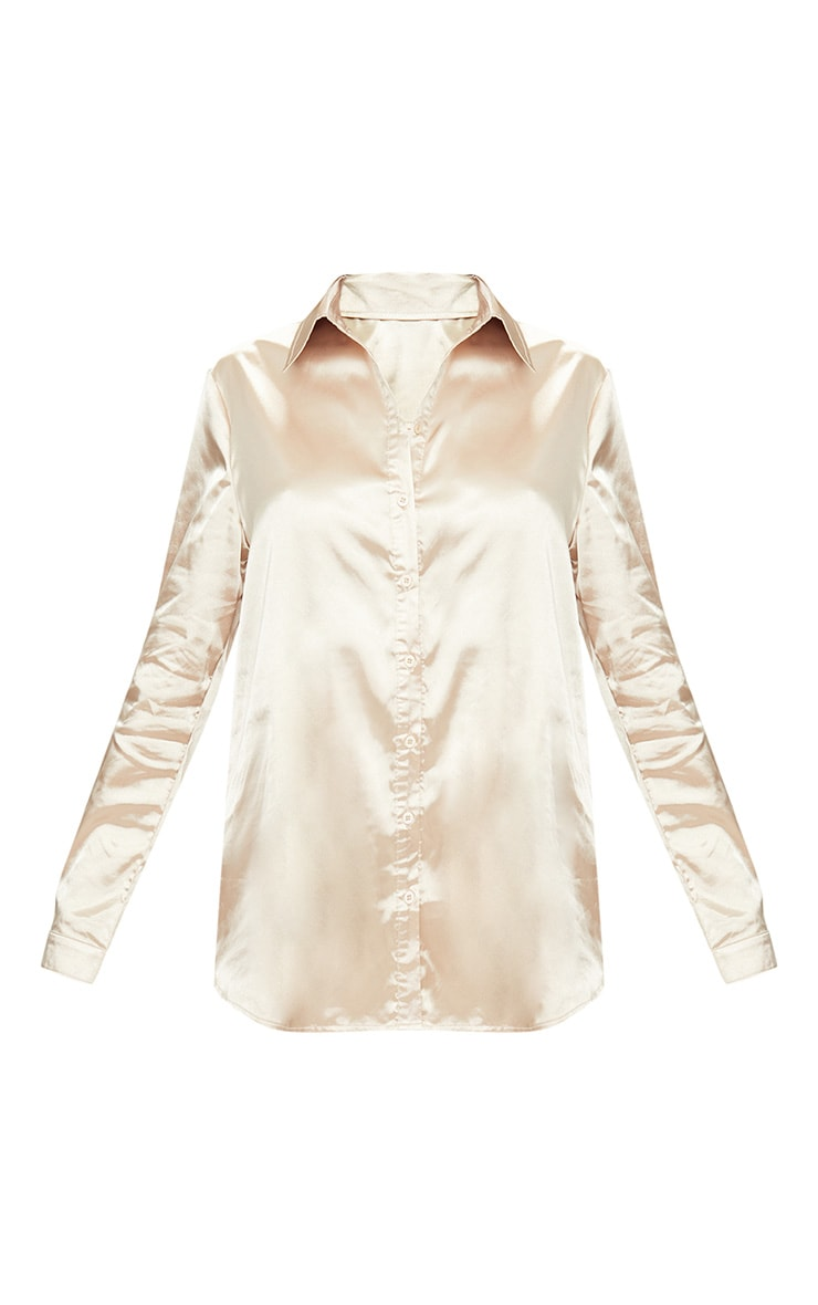 Champagne Satin Button front Shirt  3