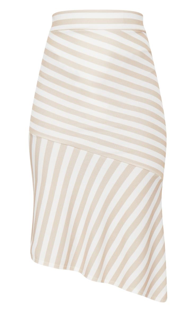 Stone Crepe Asymetric Stripe Skirt 3