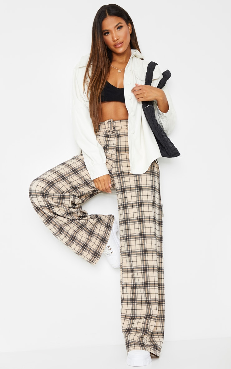 Stone Check Belted Wide Leg Pants 1
