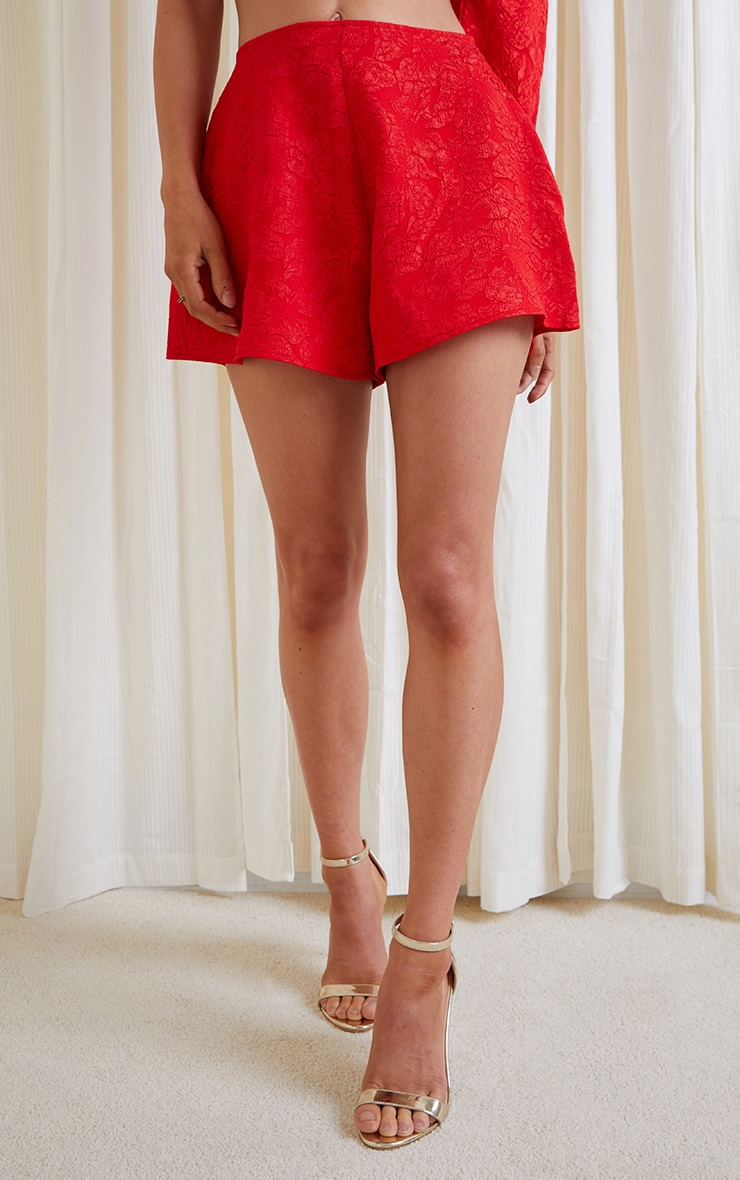 Red Embossed Jacquard A Line Shorts 2