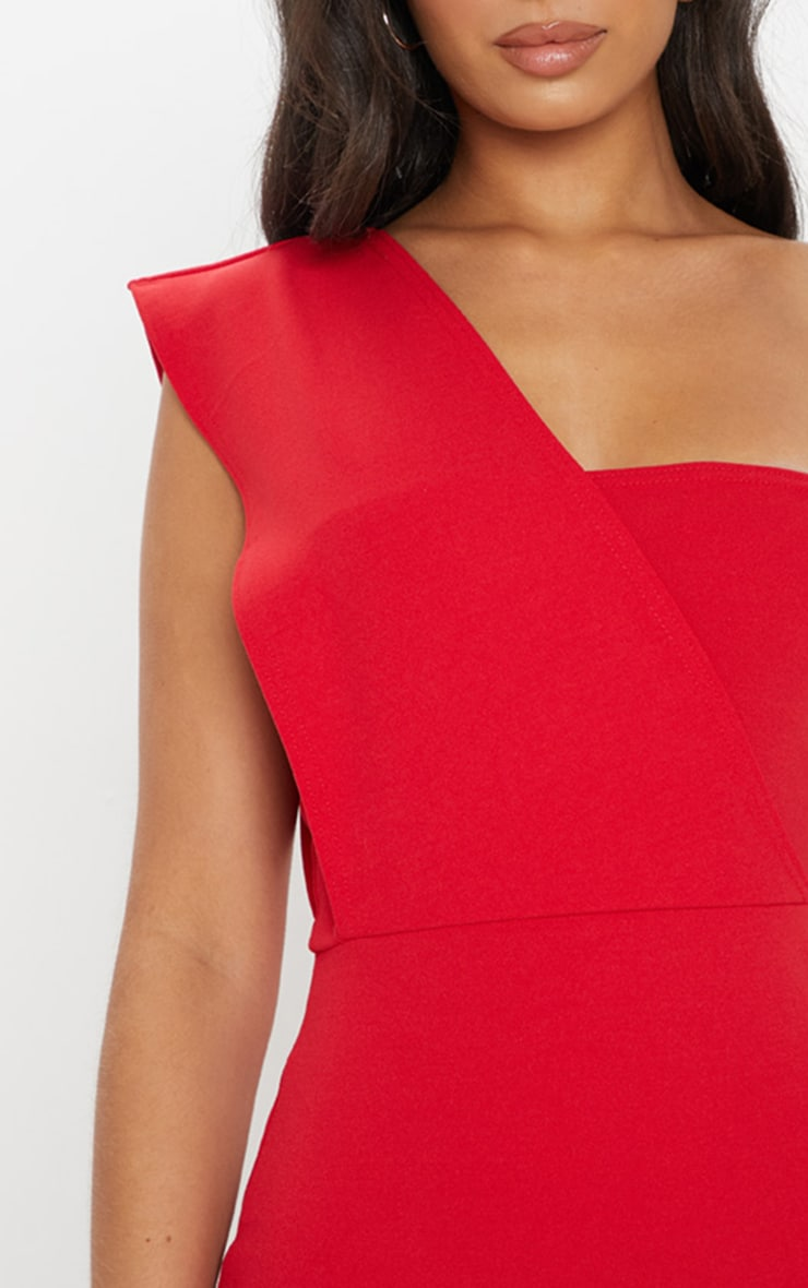 2188c8b0e2b1f Red One Shoulder Draped Midi Dress