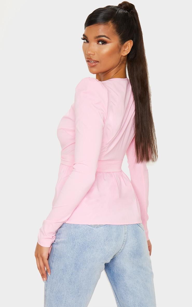 Pink Woven Plunge Peplum Tie Waist Blouse 2
