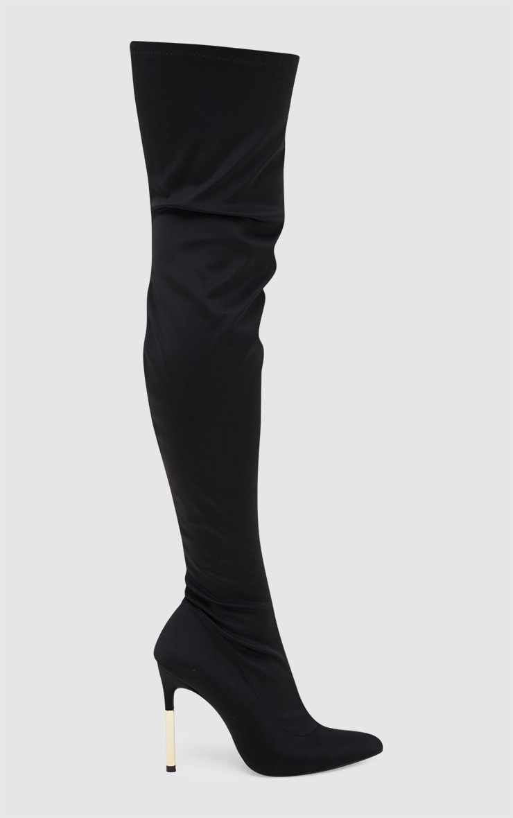 Black Lycra Over The Knee Slim Heel Skin Boot 3