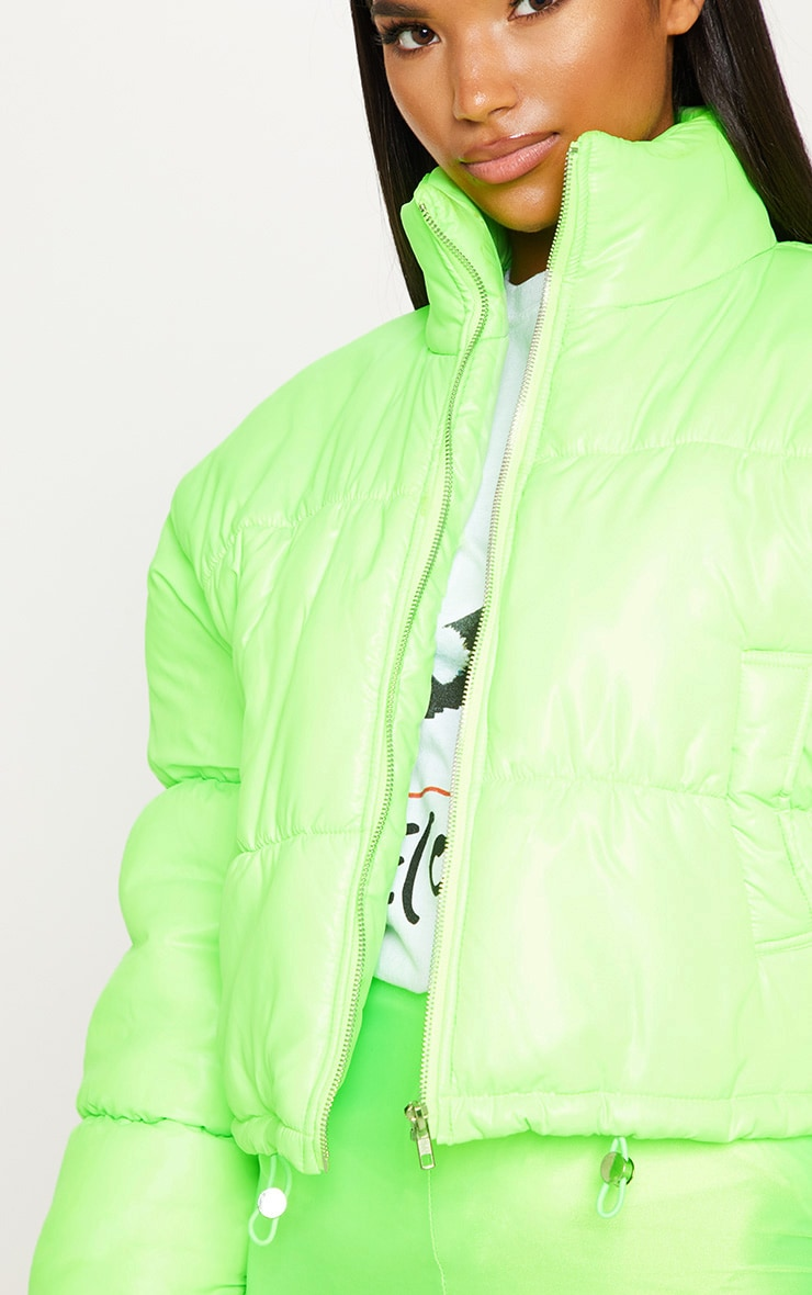 Lime Cropped Neon Puffer Jacket 5