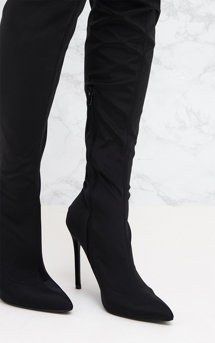 Black Lycra Thigh High Pointed Sock Boot 5