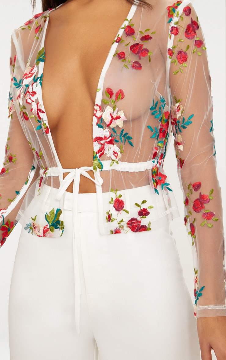 White Embroidered Lace Tie Waist Top 4
