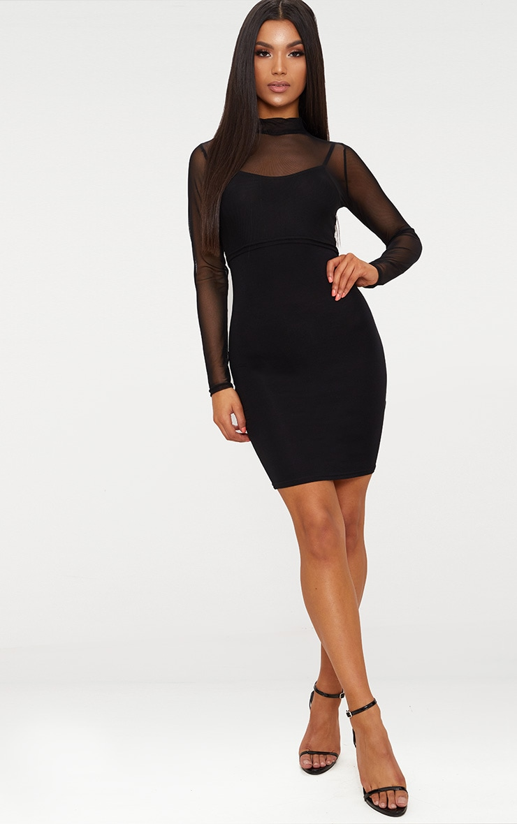 2 Pack Mesh Top And Bodycon Dress 4