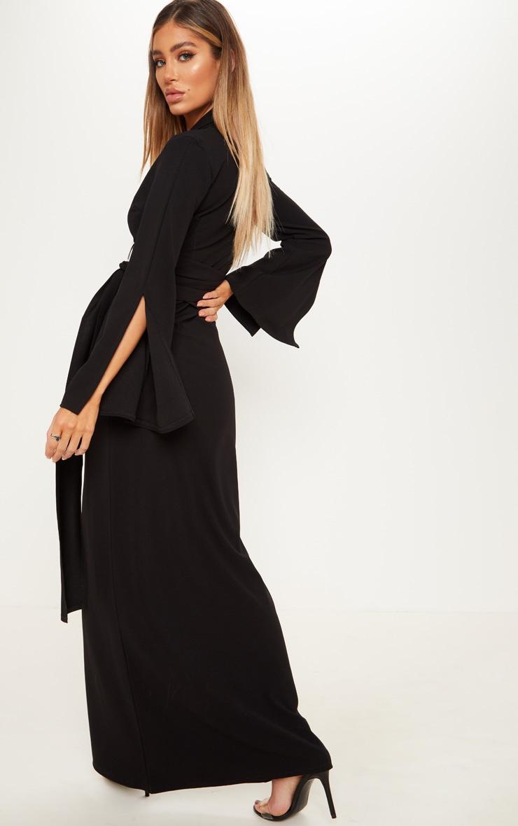 Black Ring Detail Maxi Blazer Dress 2