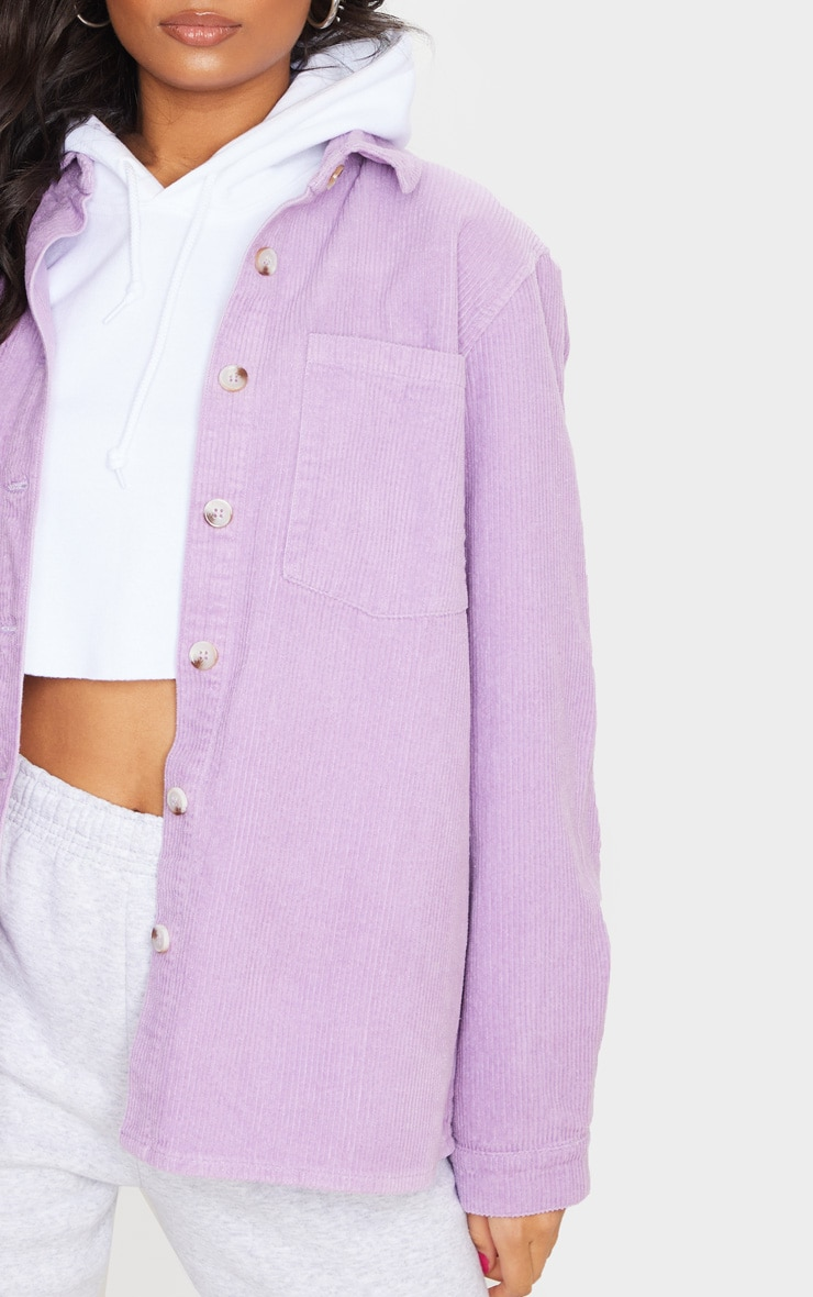 Lilac Jumbo Cord Long Sleeve Denim Shirt 4