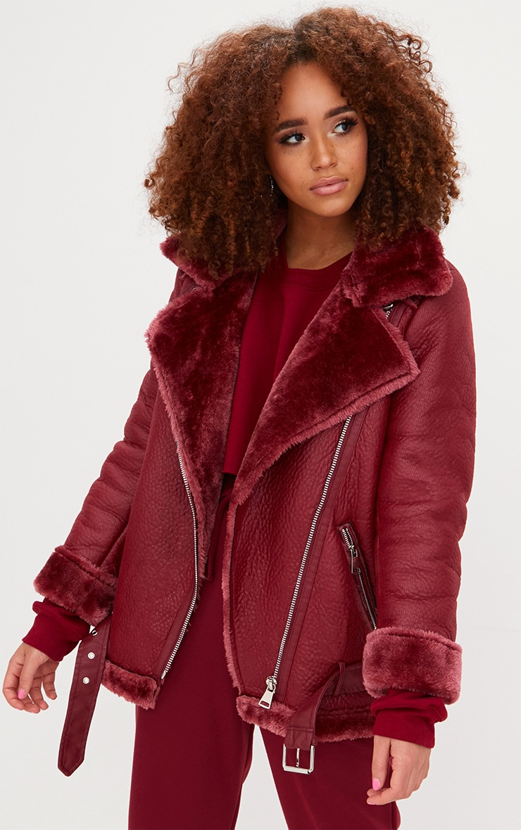 sneakers wholesale extremely unique Burgundy PU Aviator Jacket