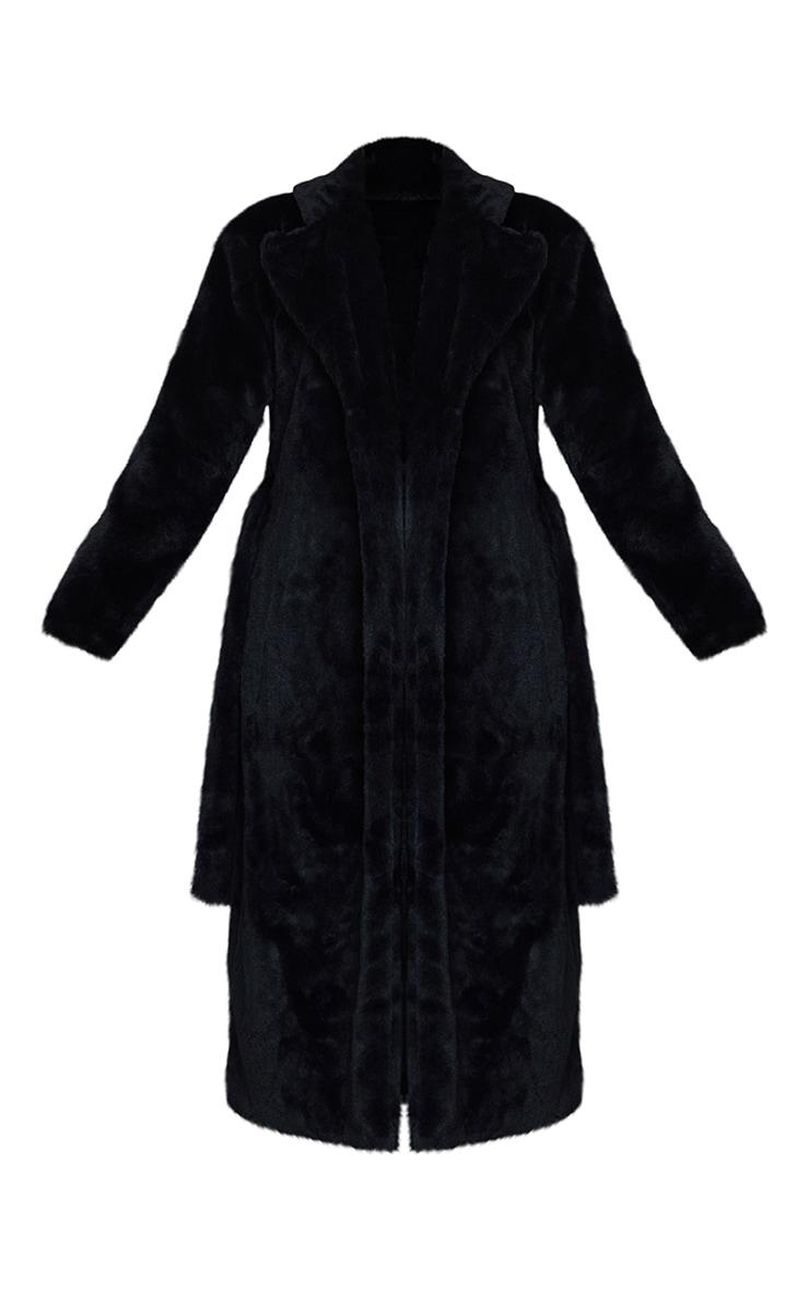 Black Belted Faux Fur Coat 5