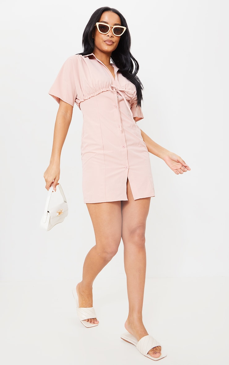 Blush Woven Ruched Tie Detail Short Sleeve Shift Dress 1