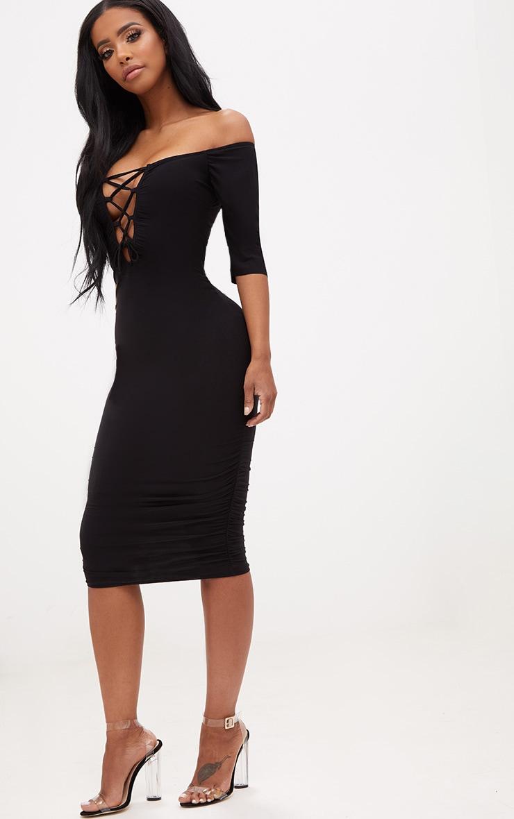Shape Black Bardot Lace Up Ruched Midi Dress 4