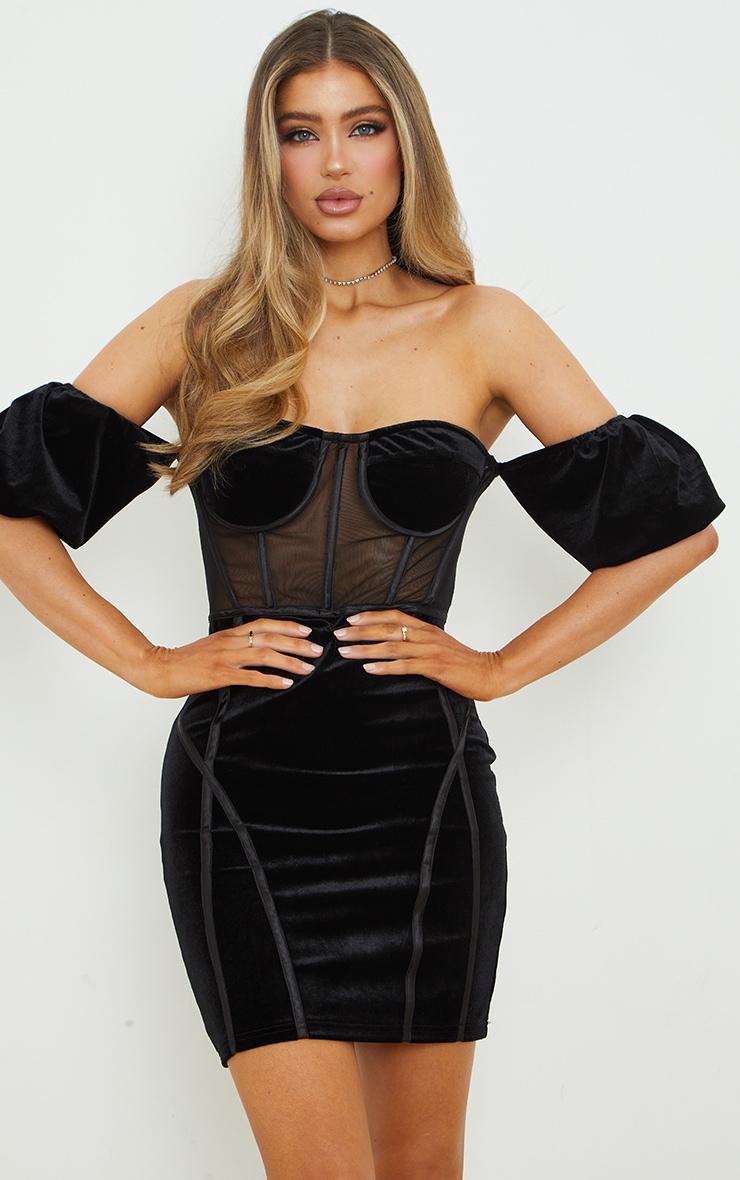 Black Velvet Corset Bardot Mesh Insert Bodycon Dress 2