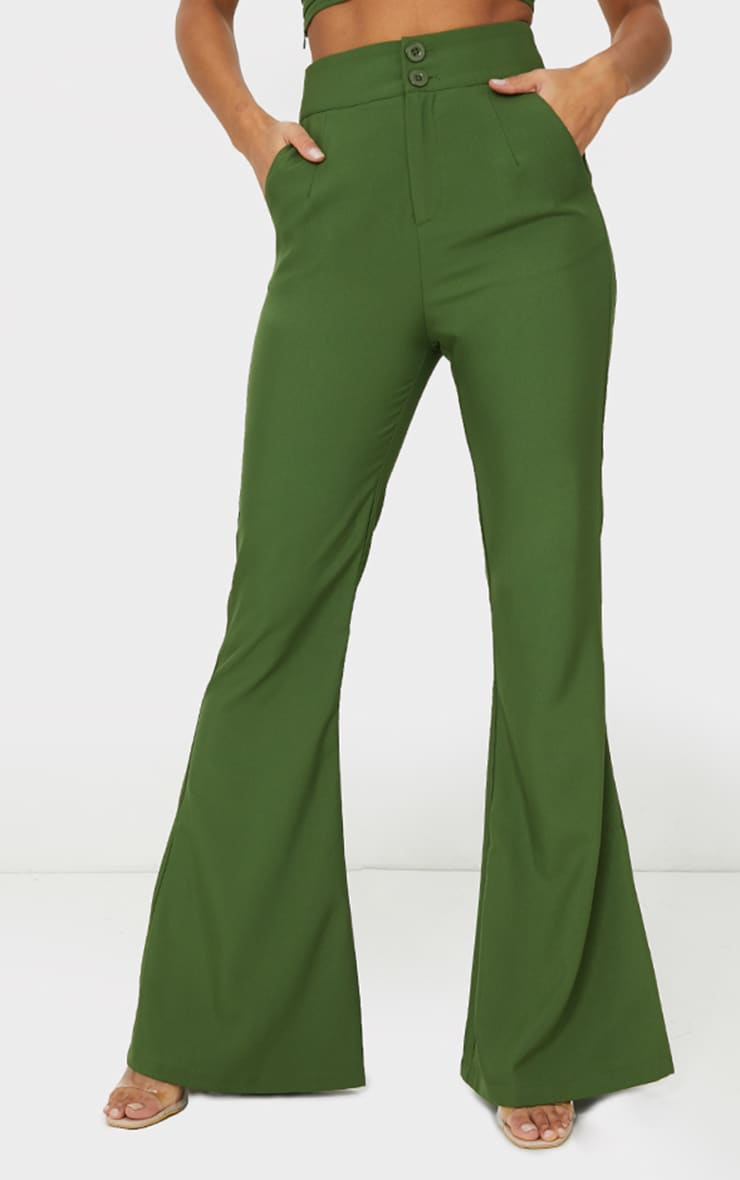Olive High Waisted Double Button Waist Flared Pants 2