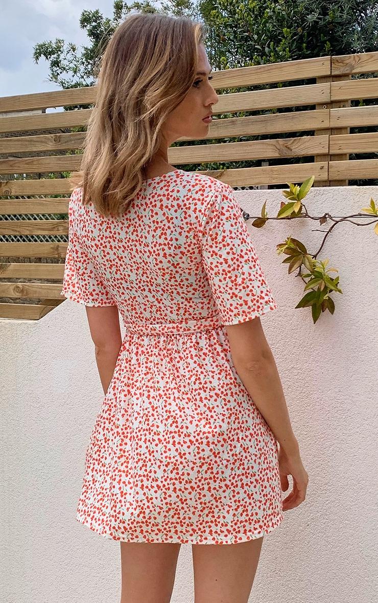 Cream Ditsy Floral Wrap Tea Dress 2