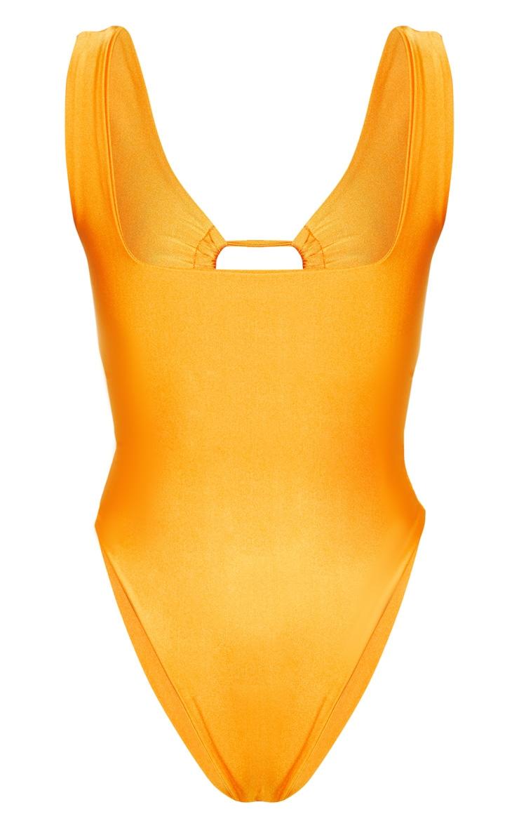 Orange Cut Out Adjustable String Swimsuit 4