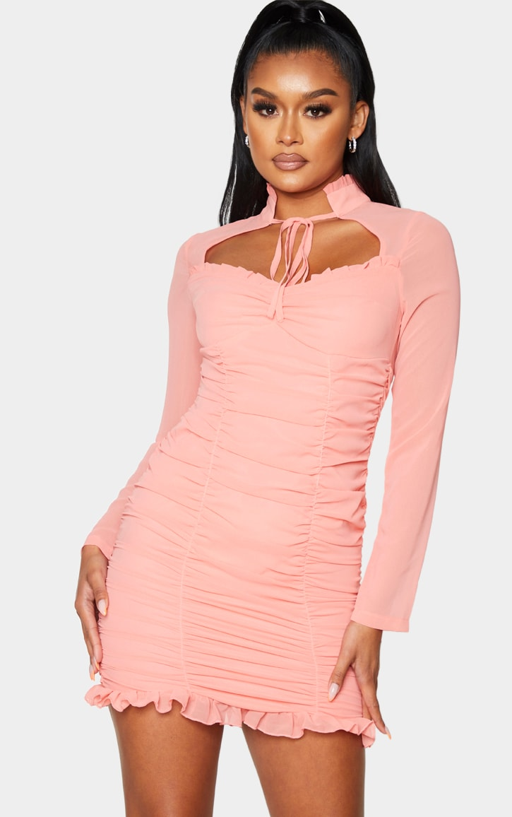 Peach High Neck Cut Out Ruched Frill Bodycon Dress 1