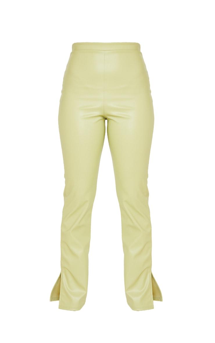 Petite Sage Green PU Split Hem Trousers 5