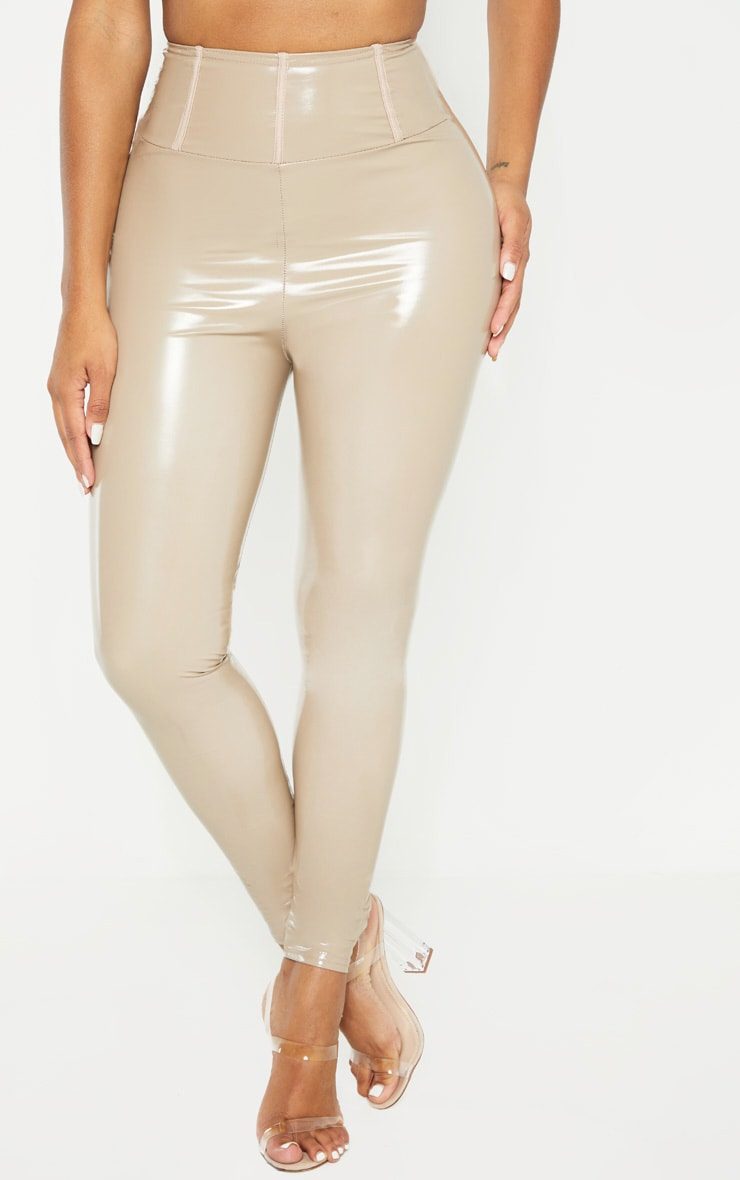 Shape Taupe High Waist Vinyl Leggings 2