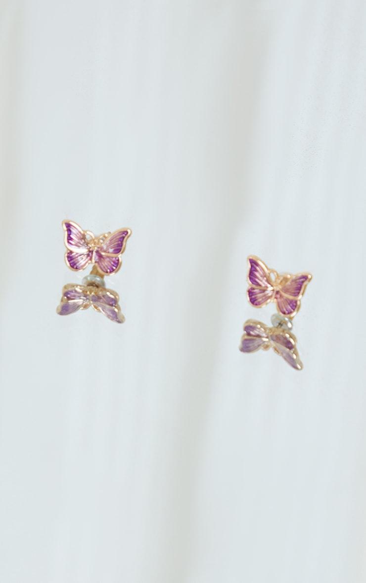 Lilac Butterfly Stud Earrings 2