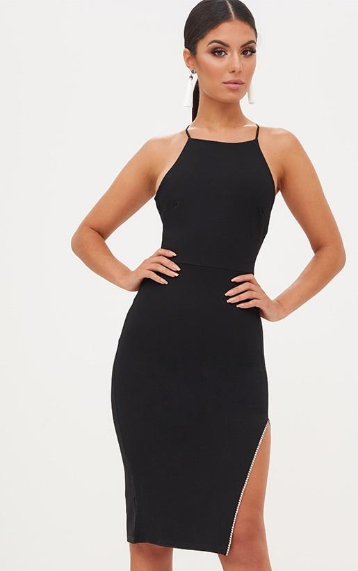 Black Diamante Split Midi Dress 1