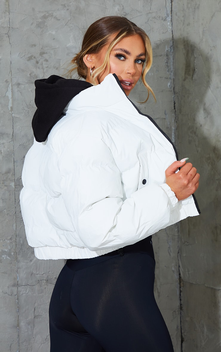 White Reflective Cropped Bubble Zip Detail Puffer Jacket 2