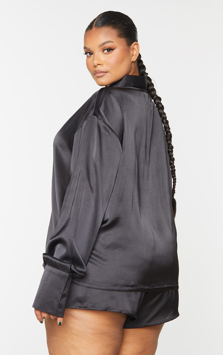 Plus Black Long Sleeve Shorts Satin PJ Set 2