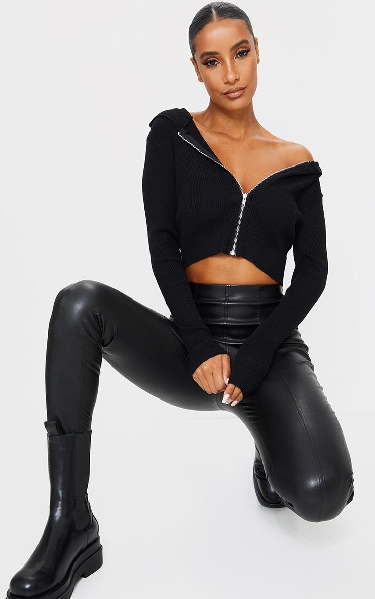 Black Fine Gauge Knitted Zip Up Cardigan 3