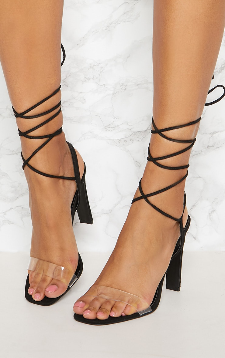PRETTYLITTLETHING Perspex Square Toe Ghillie Sandal