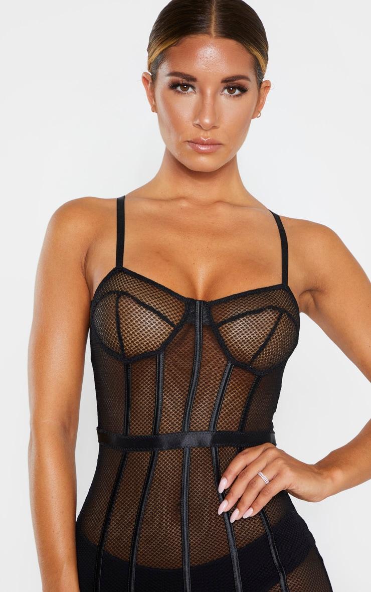 Black Fishnet Mesh Lingerie Slip Dress 5