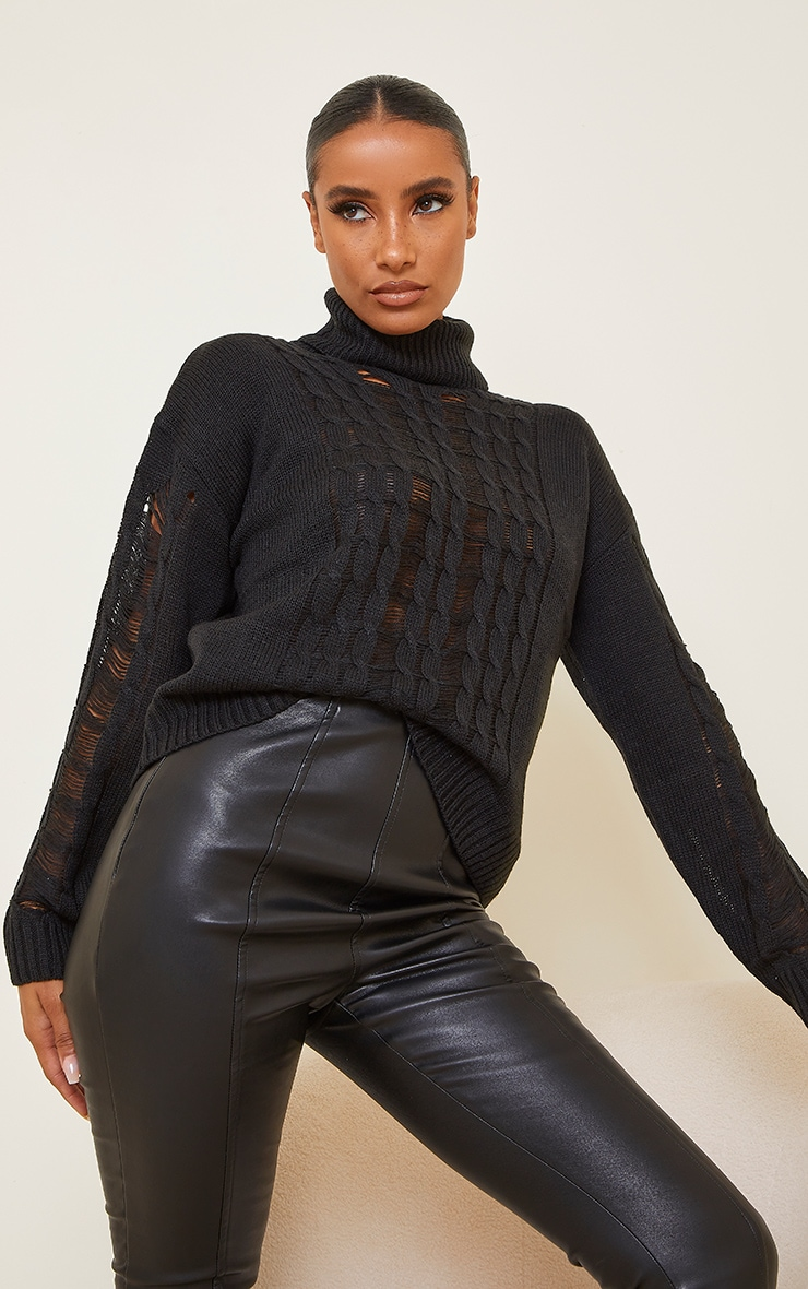 Black Distressed Roll Neck Knitted Sweater 1