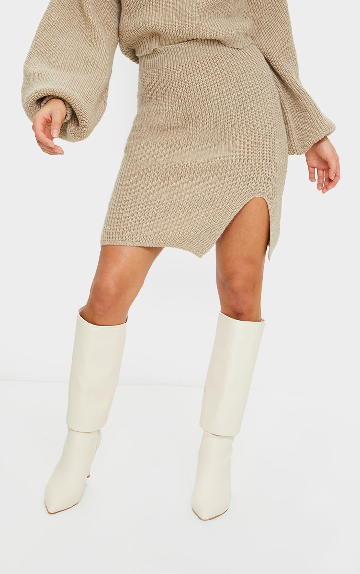 Petite Stone Knitted Split Bodycon Skirt 2
