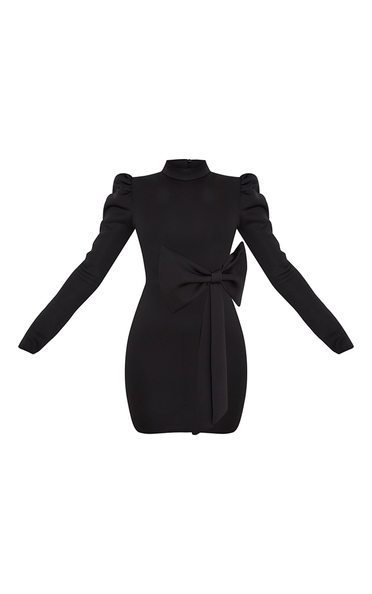 Black High Neck Bow Detail Scuba Bodycon Dress 5